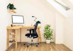 attic workspace mockup 3d rendering