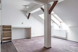 attic apartment in a modern building.